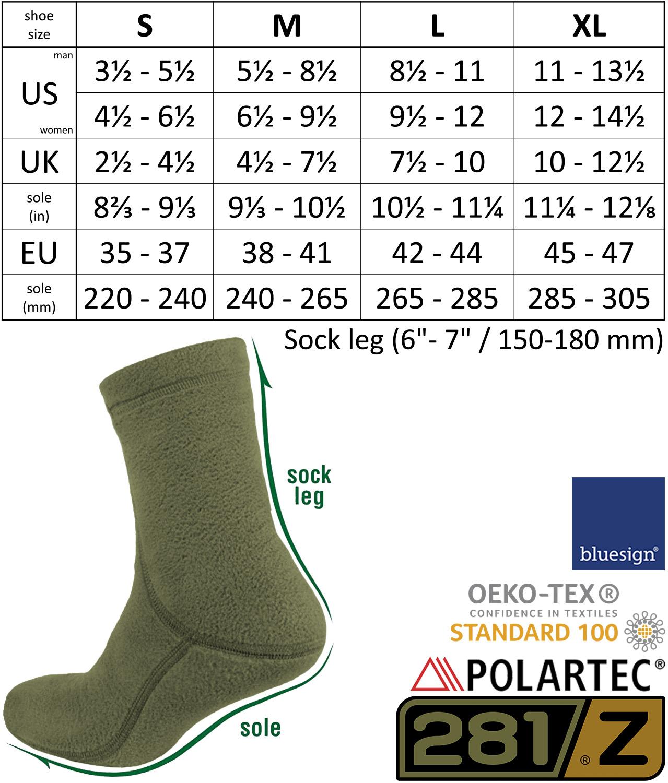 Mens Hiking Fleece Warm Boot Socks Comfortable Military Liner